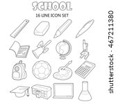 outline school icons set....