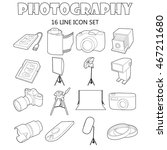 outline photography icons set....