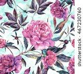 summer seamless watercolor...   Shutterstock . vector #467230760