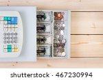 top down view of cash register... | Shutterstock . vector #467230994