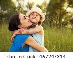 beautiful happy mother hugging...   Shutterstock . vector #467247314