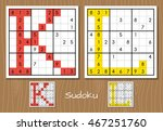 sudoku vector set with answers. ... | Shutterstock .eps vector #467251760