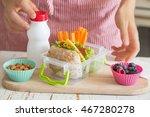mother making school lunch in... | Shutterstock . vector #467280278