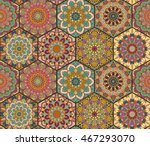 colorful tiles boho seamless... | Shutterstock .eps vector #467293070