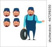 auto mechanic with wheel  happy ... | Shutterstock .eps vector #467298350