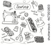 vector doodle drawing of sewing ... | Shutterstock .eps vector #467301803
