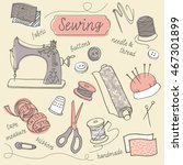 vector doodle drawing of sewing ...   Shutterstock .eps vector #467301899