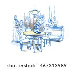 graphic sketch  living room | Shutterstock . vector #467313989
