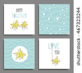 set of 6 cute creative cards... | Shutterstock .eps vector #467323244