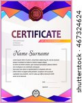 certificate template  colorful...   Shutterstock .eps vector #467324624