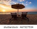 sun loungers with an umbrella... | Shutterstock . vector #467327534