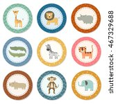 stickers collection with cute... | Shutterstock .eps vector #467329688