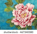 beautiful pink peony on a blue... | Shutterstock . vector #467340380