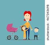 happy family on walk. cartoon...   Shutterstock .eps vector #467343698
