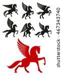 pegasus horses silhouettes of... | Shutterstock .eps vector #467343740