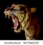 Roaring Fractal Tiger Isolated...