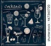 set of chalk line cocktail  ... | Shutterstock .eps vector #467360720