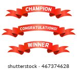 red trophy ribbons for winners. ... | Shutterstock .eps vector #467374628