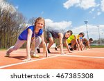 group of teenage runners lined... | Shutterstock . vector #467385308