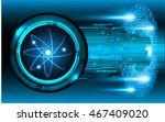 dark blue shining atom scheme.... | Shutterstock .eps vector #467409020