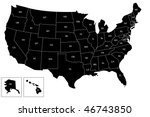 map of the usa with name of... | Shutterstock .eps vector #46743850