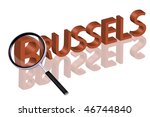 exploring city red letters in 3D part of word enlarged by magnifying glass Brussels Belgium city trip holiday tourism icon button travel traveling visit - stock photo