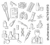 sketches of doctor with... | Shutterstock .eps vector #467454593
