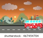 side view of vintage passenger... | Shutterstock .eps vector #467454704