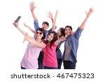 happy teenagers taking pictures ... | Shutterstock . vector #467475323