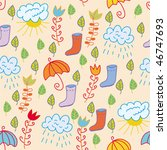Cute Seamless Pattern With Rai...