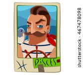 zodiac sign. cartoon pisces man.... | Shutterstock . vector #467478098