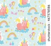 seamless pattern. cute pony... | Shutterstock .eps vector #467578586