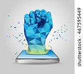 polygon hand  technology... | Shutterstock .eps vector #467595449