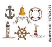 hand drawn marine objects set.... | Shutterstock .eps vector #467606036