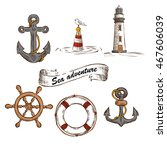 hand drawn marine objects set.... | Shutterstock .eps vector #467606039