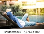 relax in the pool. young and... | Shutterstock . vector #467615480