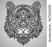tiger head zodiac artistic... | Shutterstock .eps vector #467633300