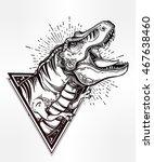 tyrannosaurus dinosaur head.... | Shutterstock .eps vector #467638460
