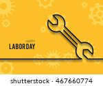 wrench on yellow background.... | Shutterstock .eps vector #467660774