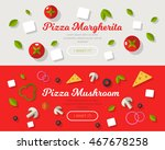 pizza banner in flat style... | Shutterstock .eps vector #467678258