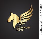 Stock vector  d horse winged gold logo pegasus symbol 467678336