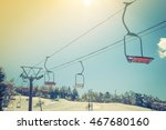 sunset and  ski lift going over ... | Shutterstock . vector #467680160