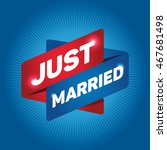 just married arrow tag sign. | Shutterstock .eps vector #467681498