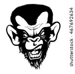 mad angry bad chimp ape monkey... | Shutterstock .eps vector #467692634