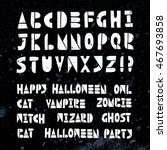 happy halloween party lino cut...   Shutterstock .eps vector #467693858