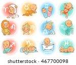 set of zodiac icons. horoscope... | Shutterstock .eps vector #467700098