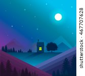 Nature landscape. Vector.Night nature landscape with lonely house in mountains with window light.Moon and star light,violet and blue colours.Vector illustration nature background.Vector.Landscape art.