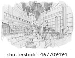 sketch stripes lobby lounge ... | Shutterstock . vector #467709494