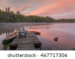canoe and kayak moored to a... | Shutterstock . vector #467717306