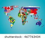 political map of world with... | Shutterstock .eps vector #467763434